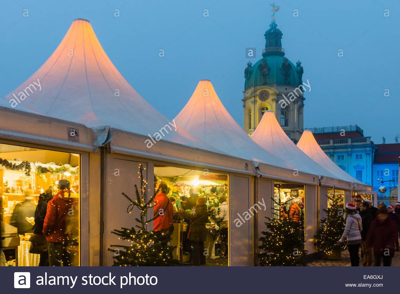 Germany, Berlin, Christmas market at Charlottenburg Palace Stock Photo