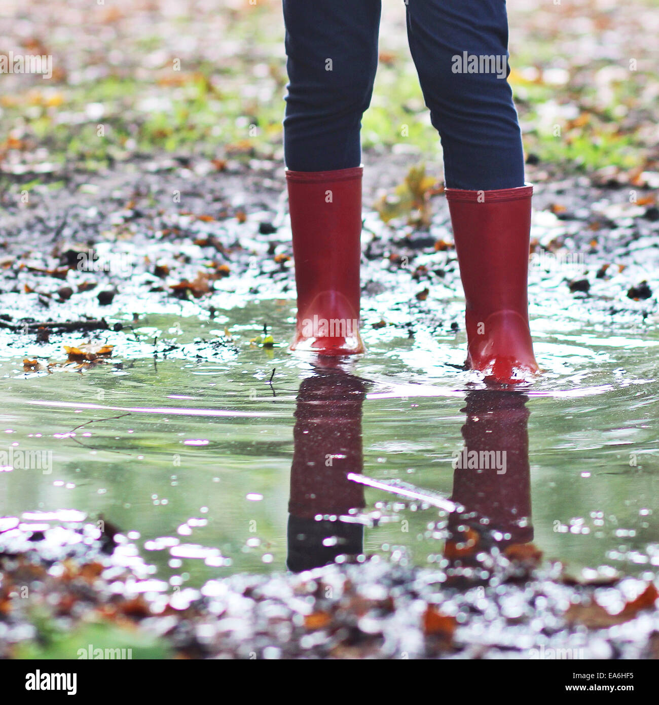 Girl wearing wellington boots standing in puddle - Stock Image