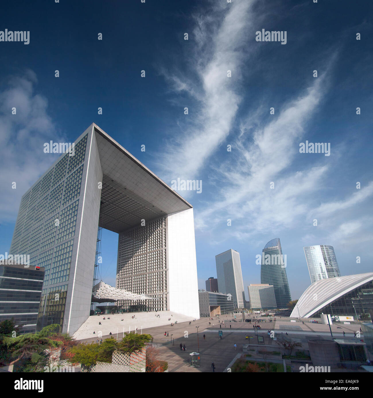 France, Paris, La Defense, Skyscrapers and clouds Stock Photo