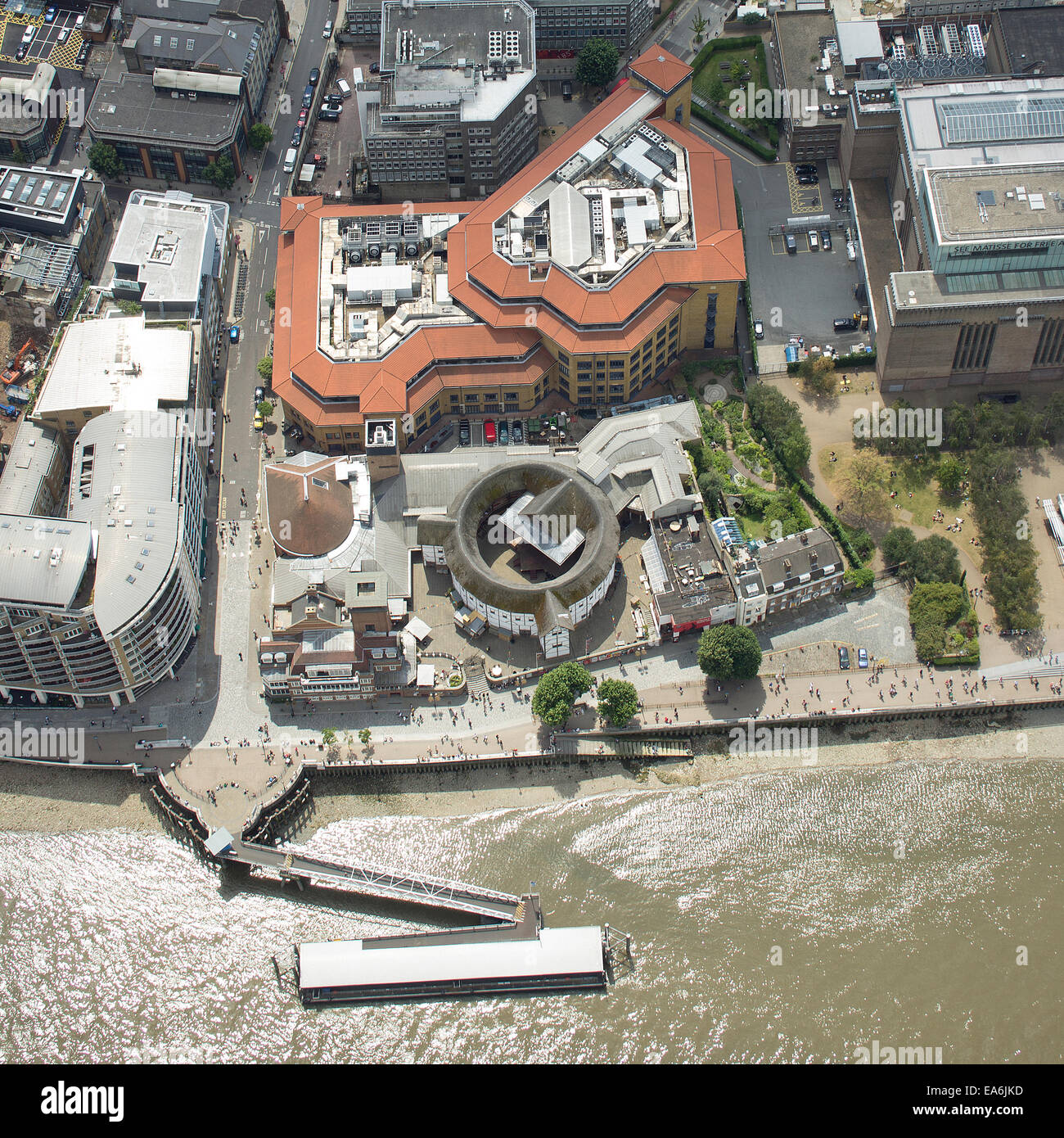 UK, London, Aerial view of Globe Theatre - Stock Image