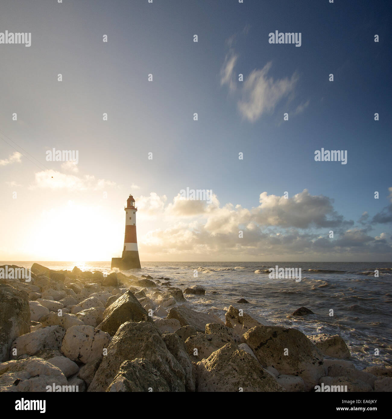 UK, England, East Sussex, View of Beachy Head lighthouse - Stock Image