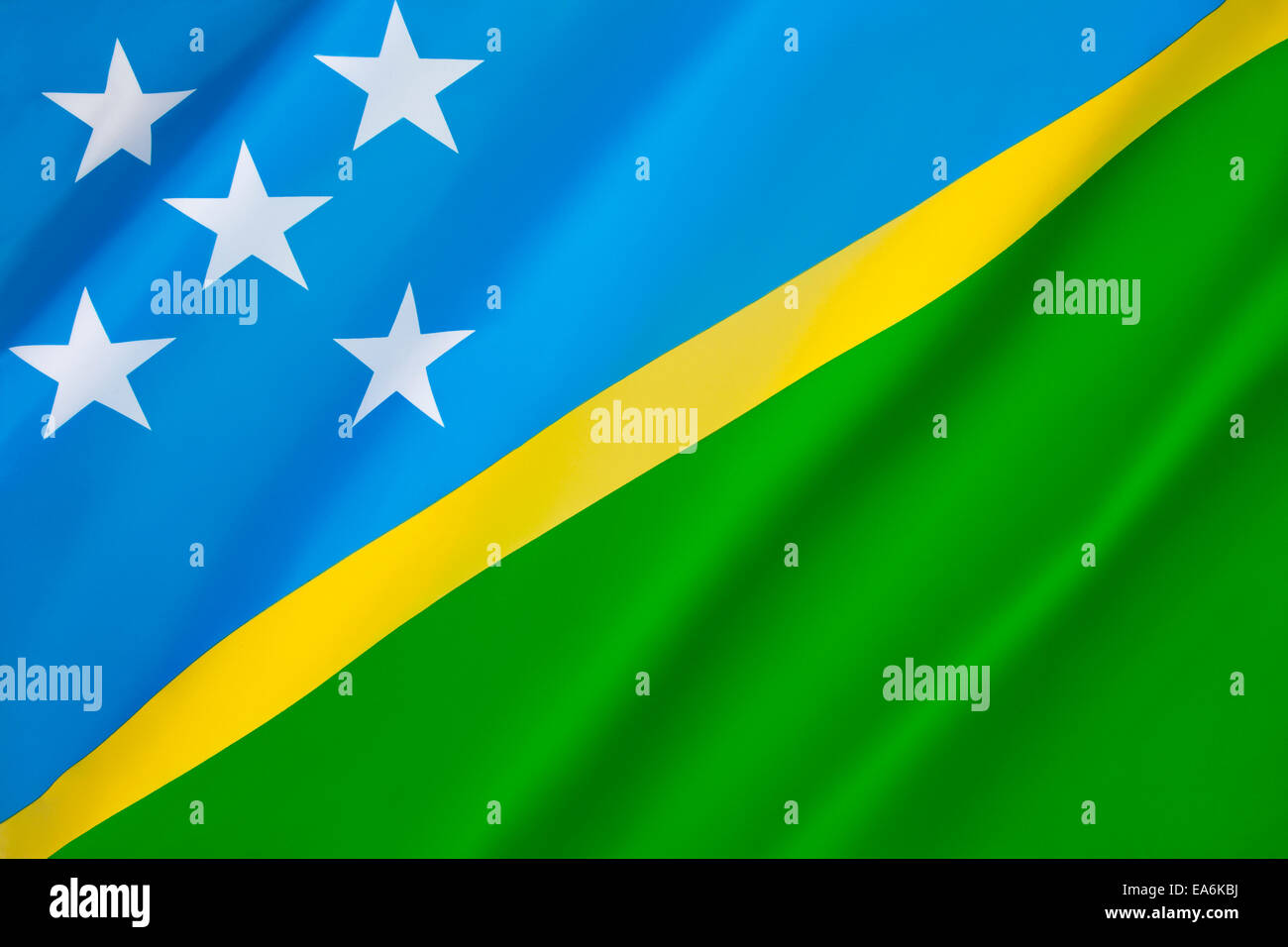 Flag of the Solomon Islands - Stock Image