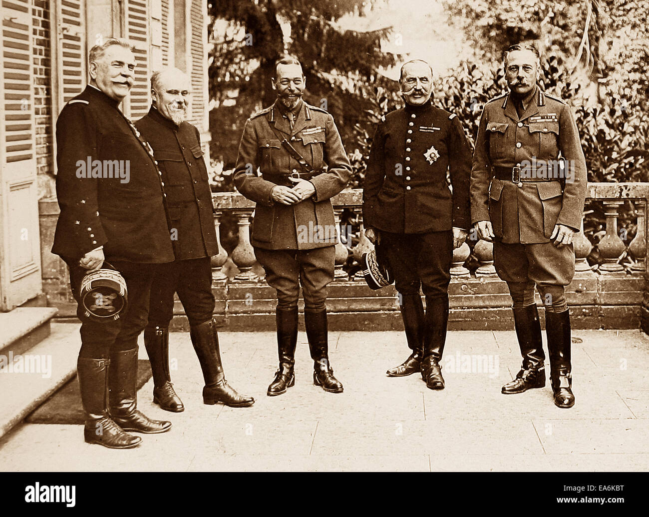 King George V President Poincare Sir Douglas Haig Marshall Foch and general Joffre during WW1 - Stock Image