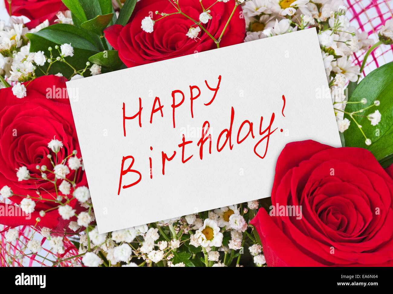 Happy Birthday Card Red Roses Stock Photos Happy Birthday Card Red