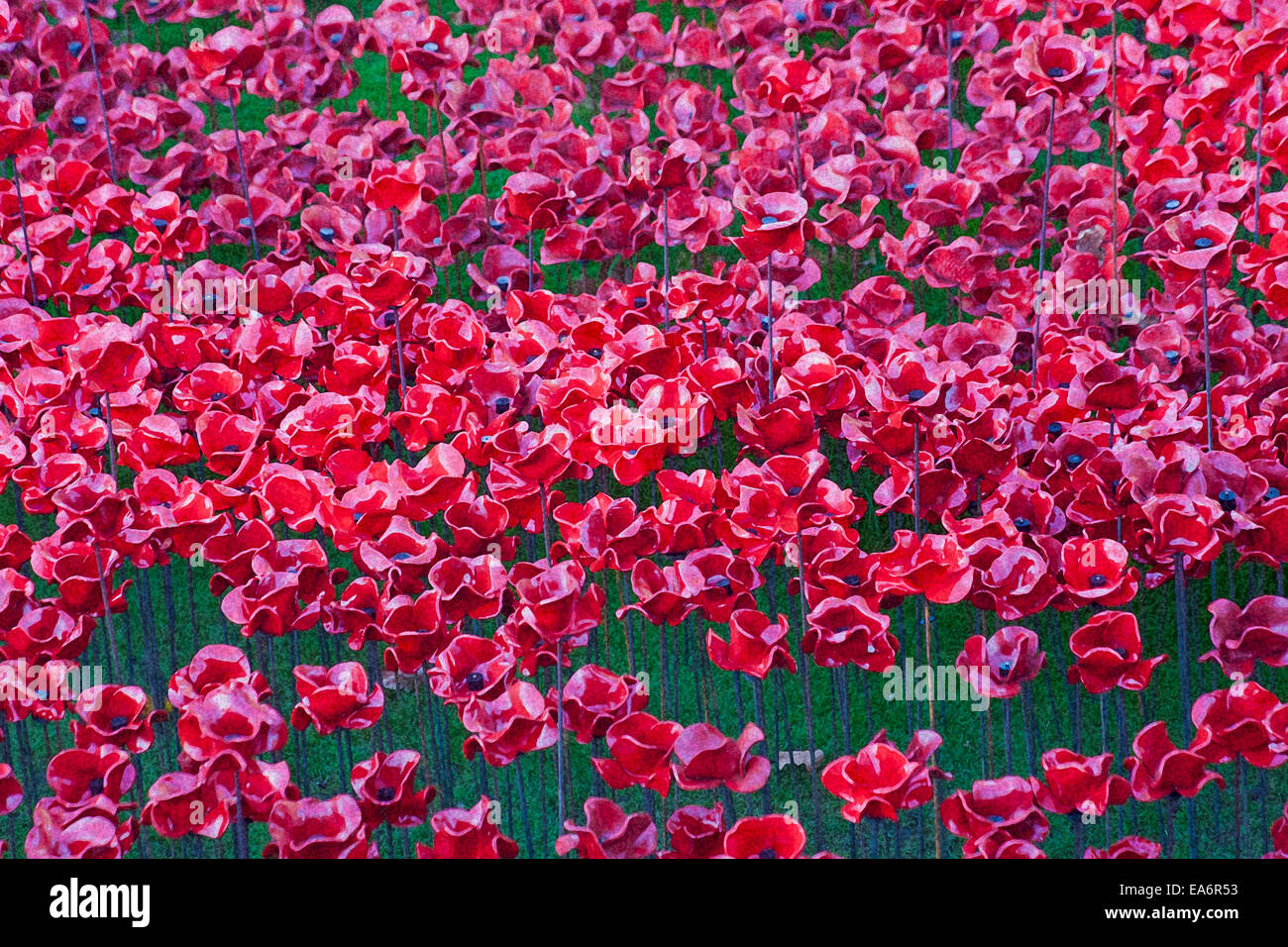 Ceramic poppies of Blood Swept Lands and Seas of Red at Tower of London to mark centenary of World War 1 - Stock Image