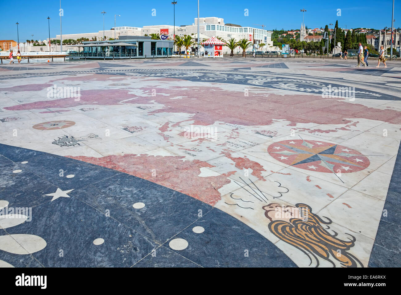World map in Padrao dos Descobrimentos, Monument to Discoveries, with the explorations made by the Portuguese. CCB - Stock Image