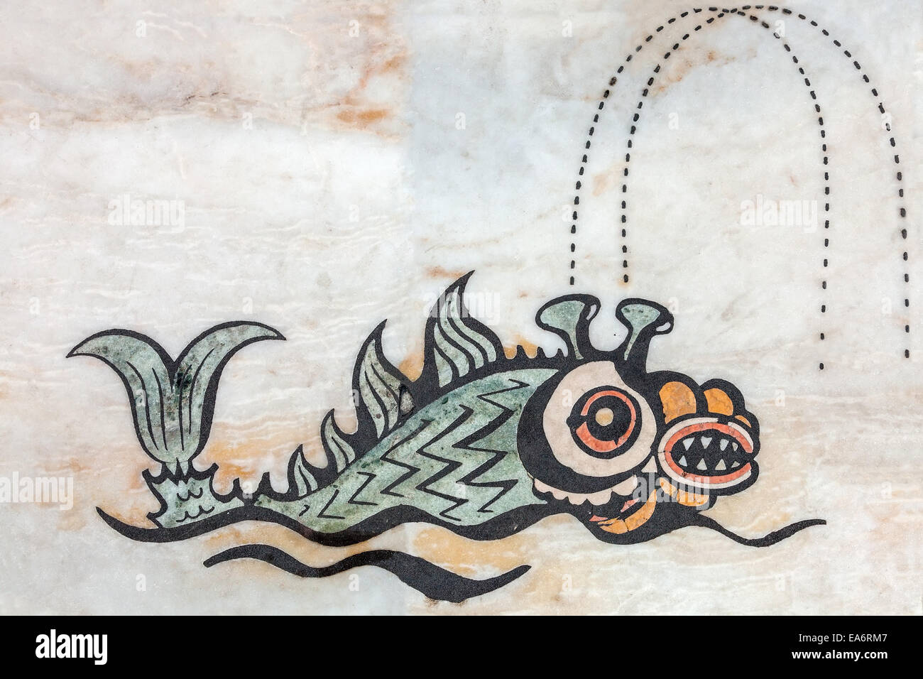 Mythological sea creature decorating the World map in the Padrao dos Descobrimentos, Monument to the Discoveries - Stock Image