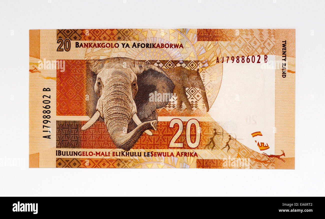 South Africa 20 Rand Bank Note - Stock Image