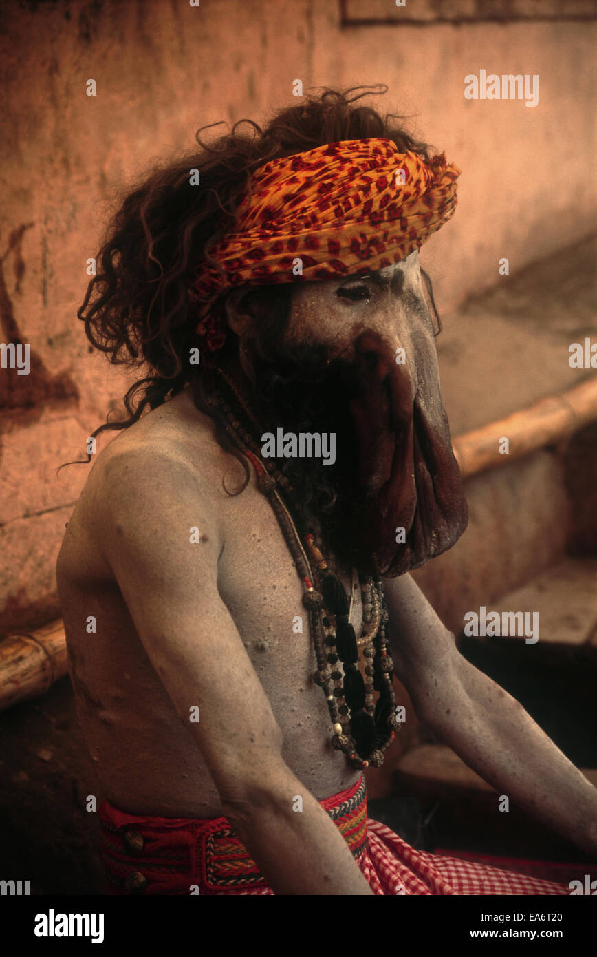 Sadhu,holy man in India with deformed face Stock Photo