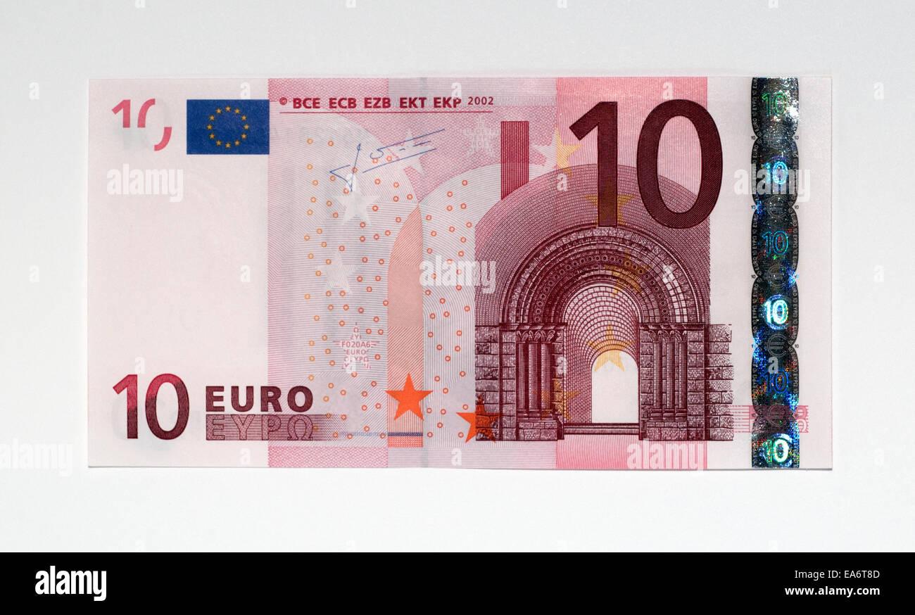 Euro 10 Ten Bank Note - Stock Image