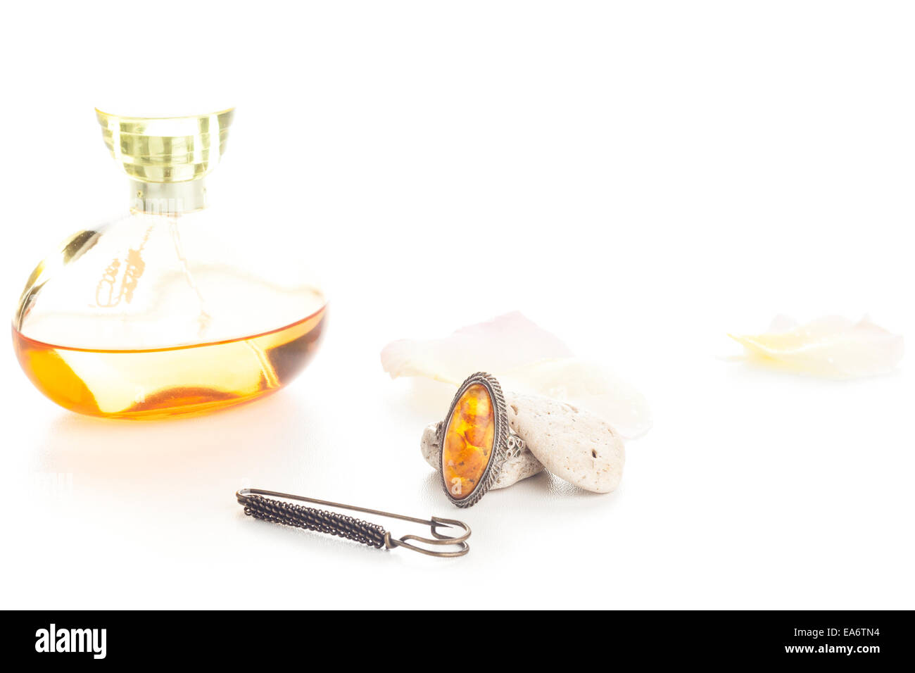 perfume and ring - Stock Image
