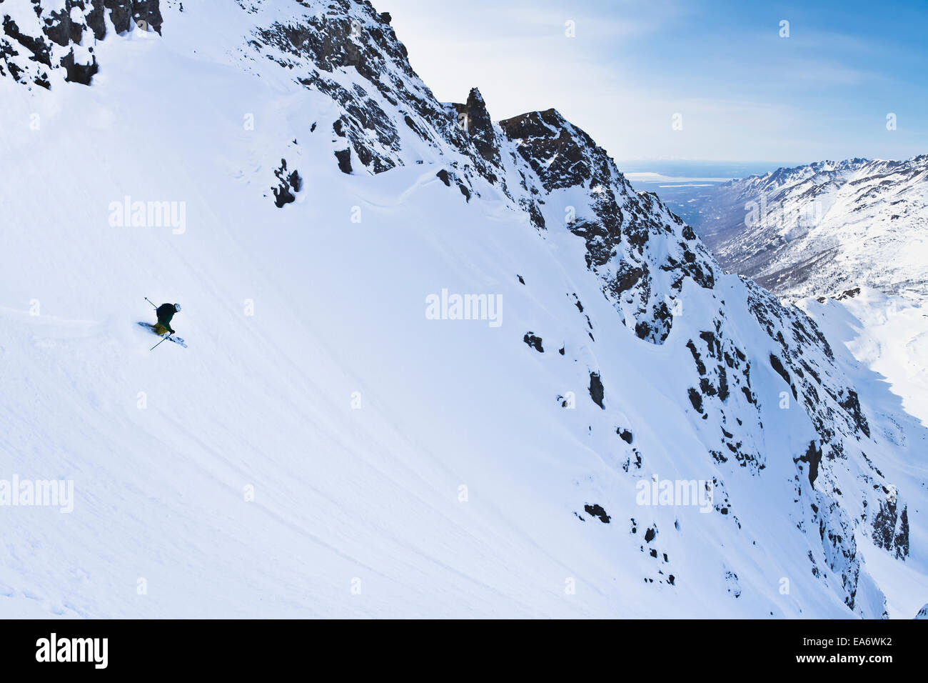 Backcountry ski mountaineering near Eagle River, Western Chugach Mountains, Southcentral Alaska; Alaska, USA - Stock Image