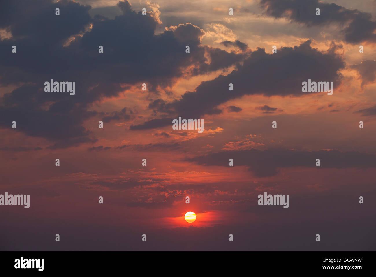 Sunset, Chobe national park, Botswana - Stock Image