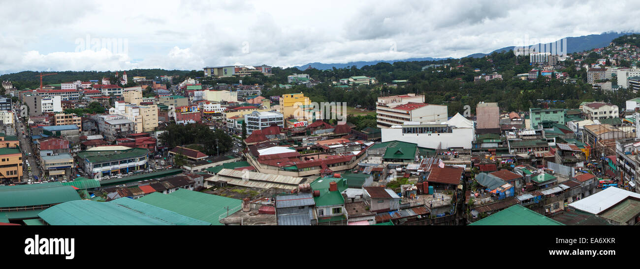 Panorama of downtown Baguio City in northern Luzon, Philippines. known as the Summer Capital and City of Pines. - Stock Image