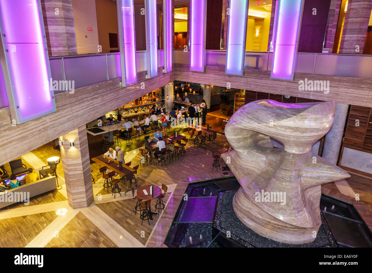 Miami Florida Intercontinental hotel lobby The Spindle sculptor Henry Moore travertine marble sculpture art - Stock Image