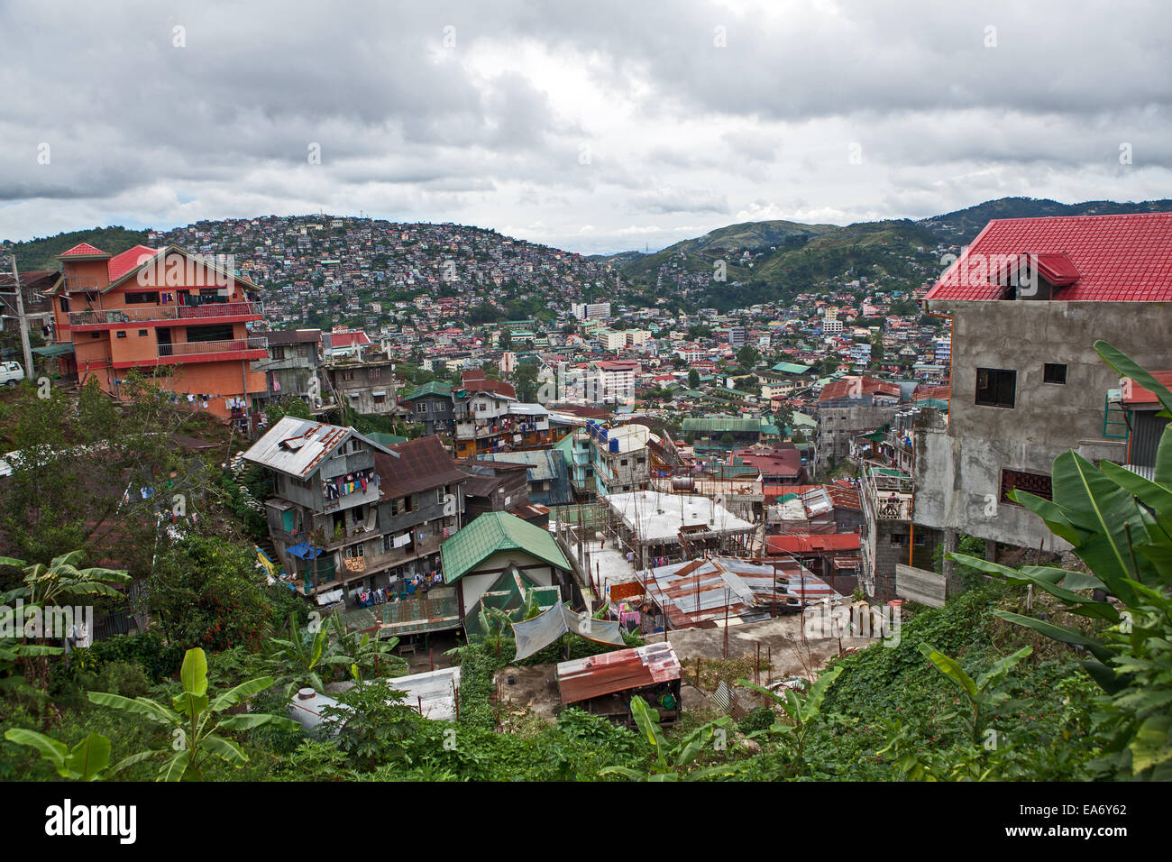 Severe congestion, overbuilding and crowding on one of the mountainsides in Baguio City, Northern Luzon Island, - Stock Image