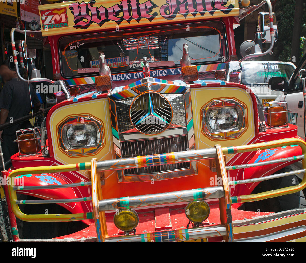 Front end of a Jeepney, a form of public transportation based on old USA military jeeps. Common throughout the Philippines. - Stock Image
