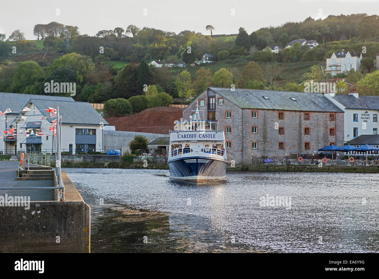 Cardiff Castle twin screw passenger vessel, operating on the River Dart in South Devon, UK, - Stock Image