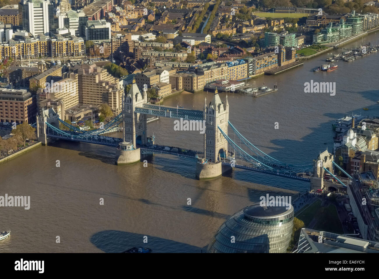 Aerial view of Tower Bridge across the River Thames, London - Stock Image