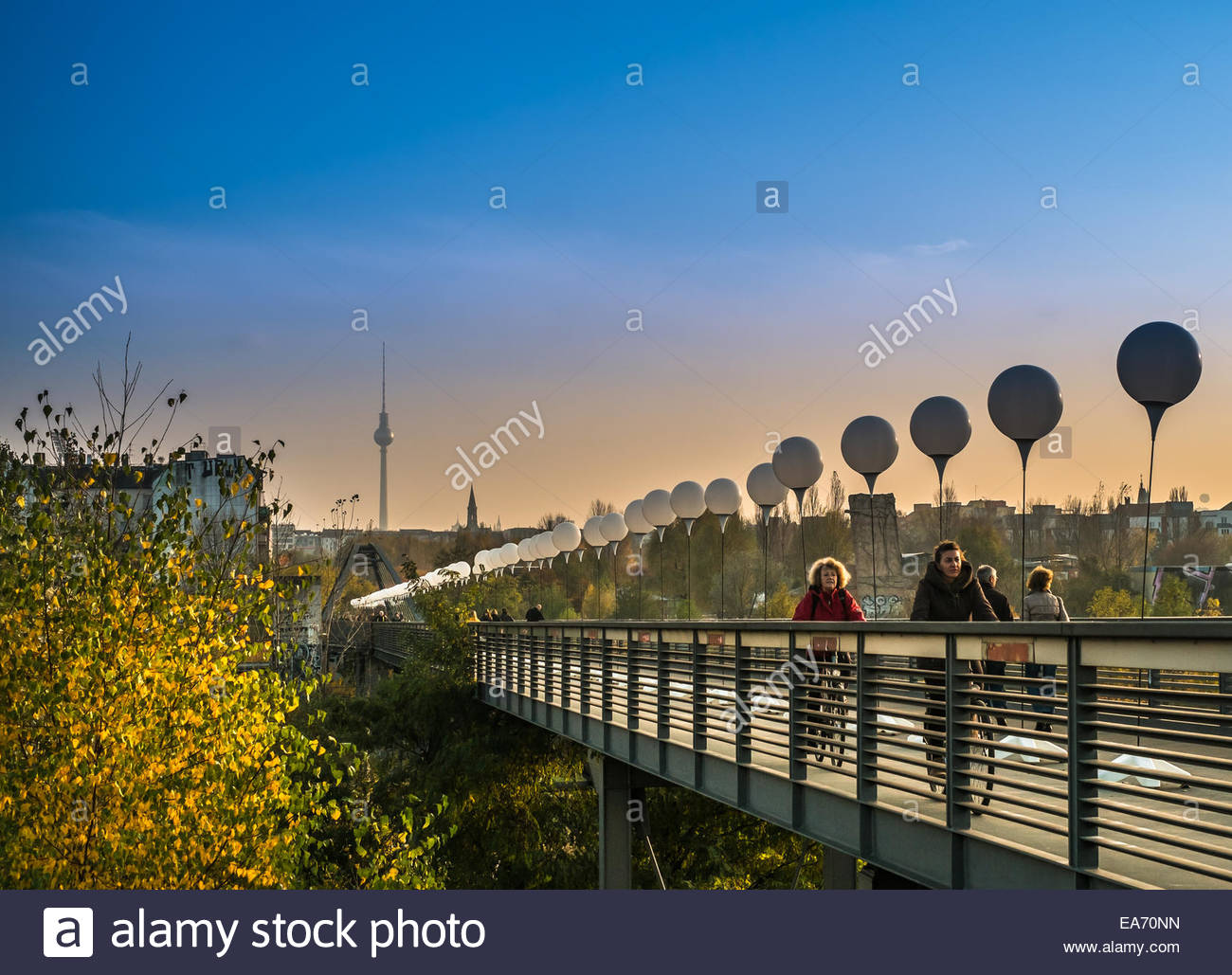 Berlin, Germany - 25 Years Fall of the Berlin Wall celebration - the light border - November 7th 2014 Stock Photo