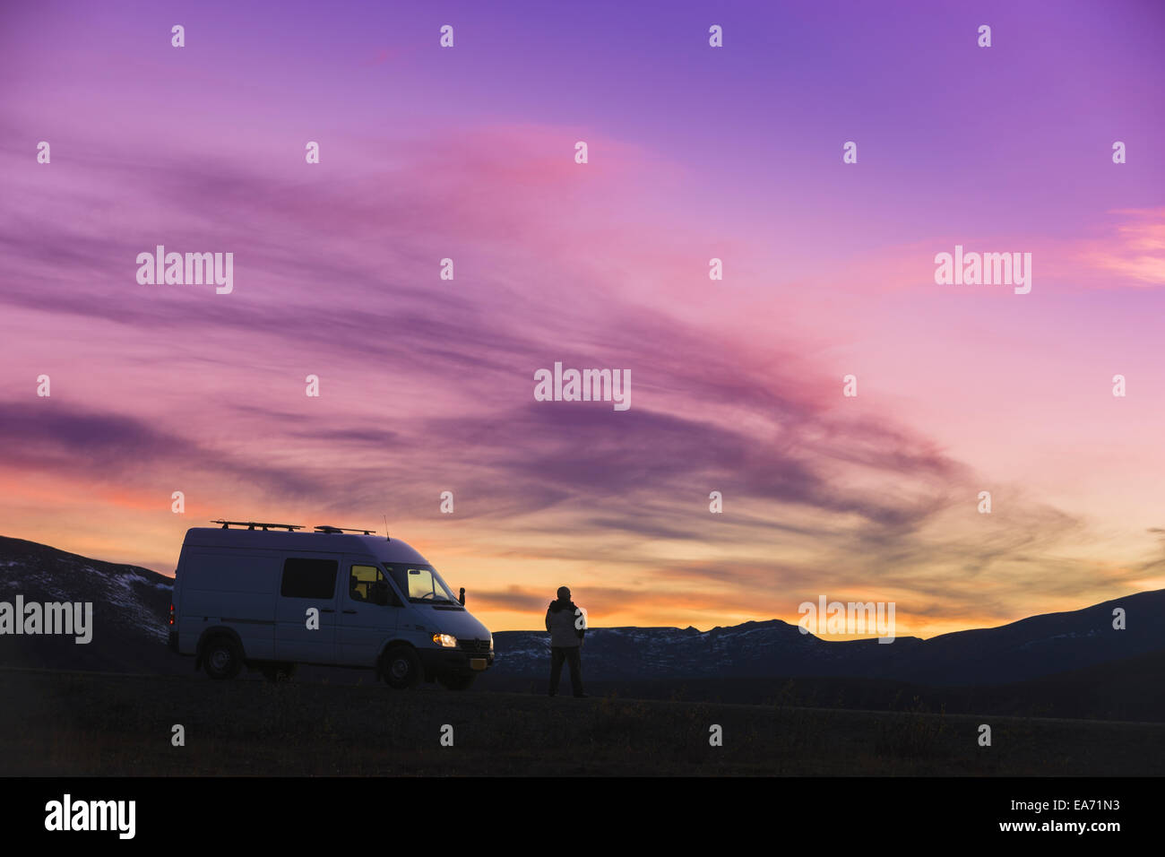 2a9b89361f Camper Van Silhouette Stock Photos   Camper Van Silhouette Stock ...