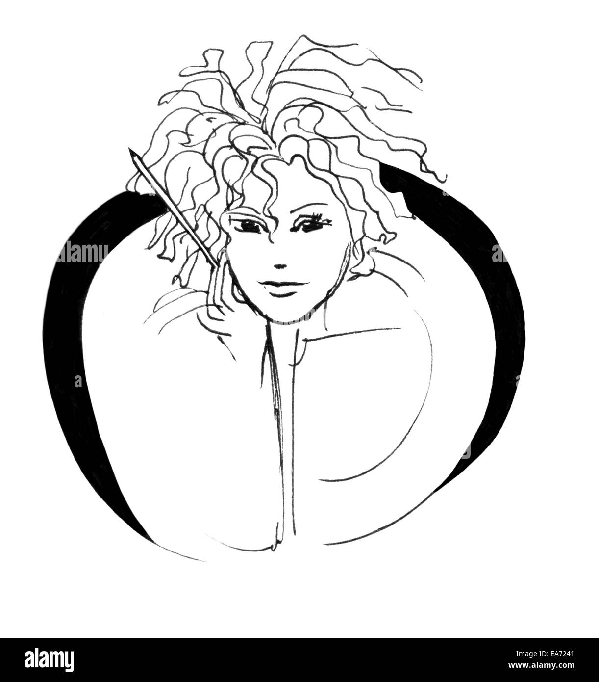Pen girl, girl or woman writer with a pencil in abstract half circle. Black and white ink sketch isolated on white. Stock Photo
