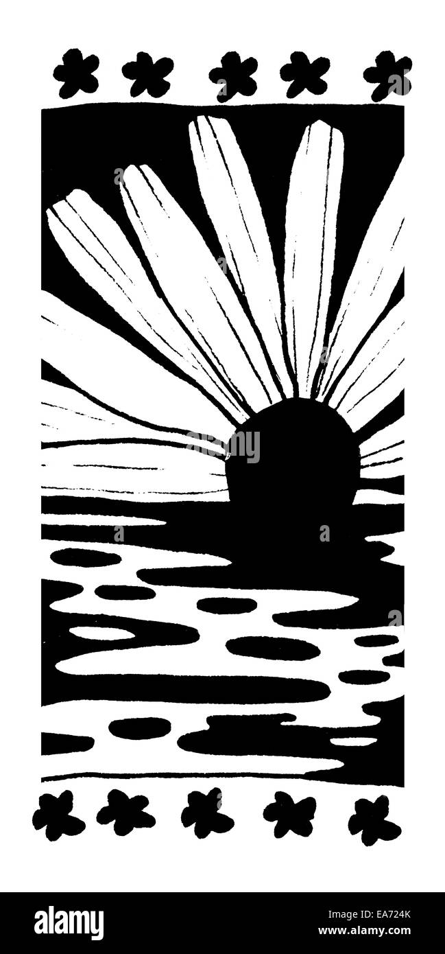 Ink Pattern Four, abstract pattern, black and white ink sketch. Daisy sunrise on water, fantasy motif. Stock Photo