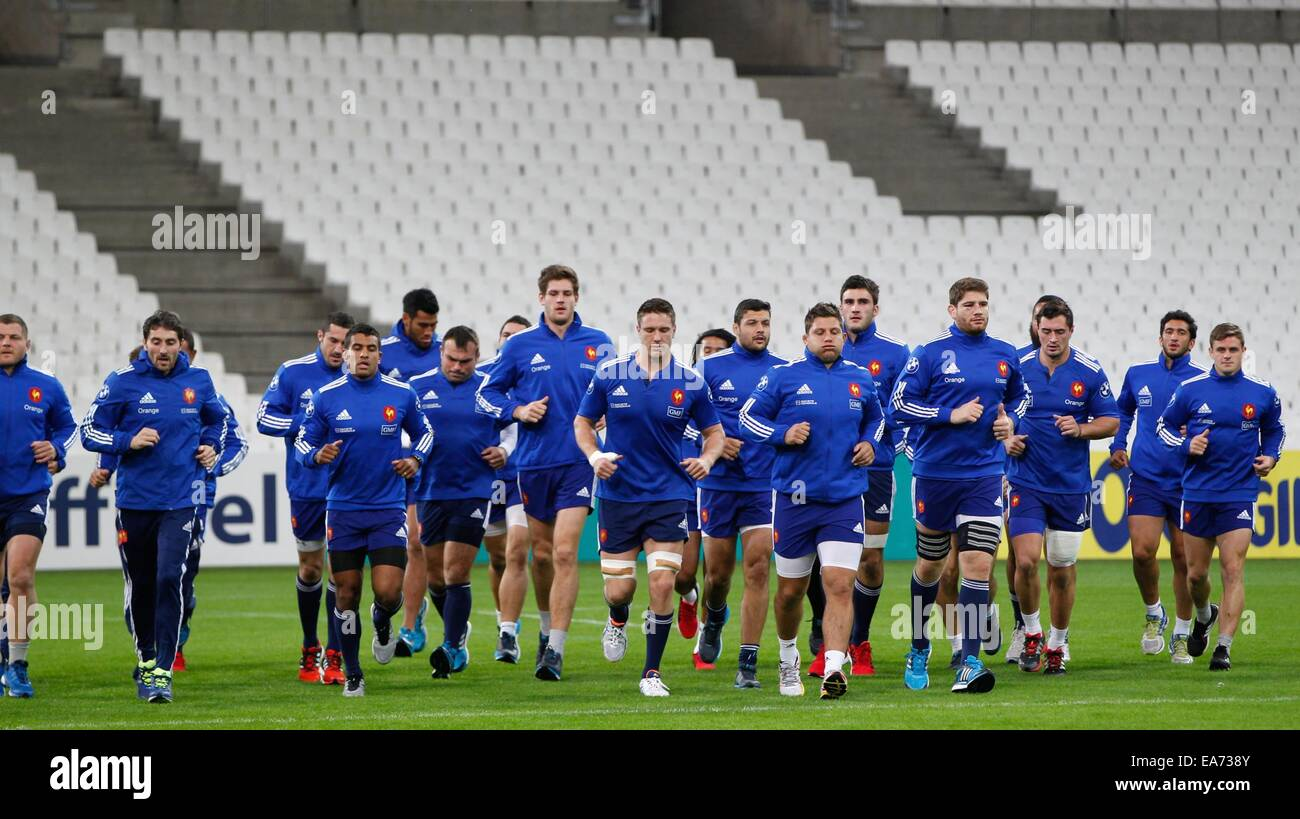 Marseille, France. 07th Nov, 2014. France during the Captains Run at Stade Velodrome in Marseille, France - International - Stock Image