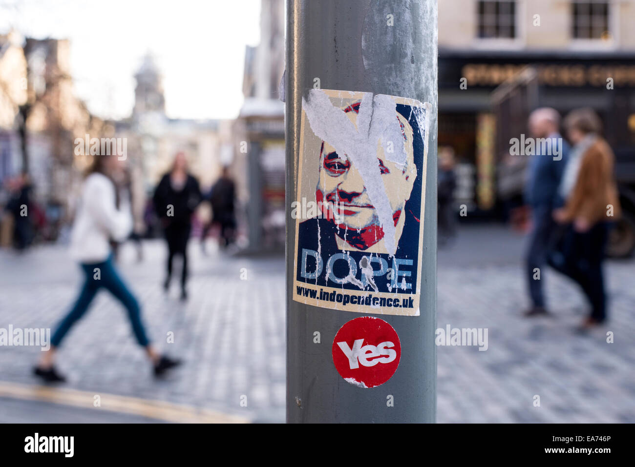 An Alex Salmond 'Dope' sticker, parodying the Obama 'Hope' poster, and a pro-independence 'Yes' , post referendum. Stock Photo