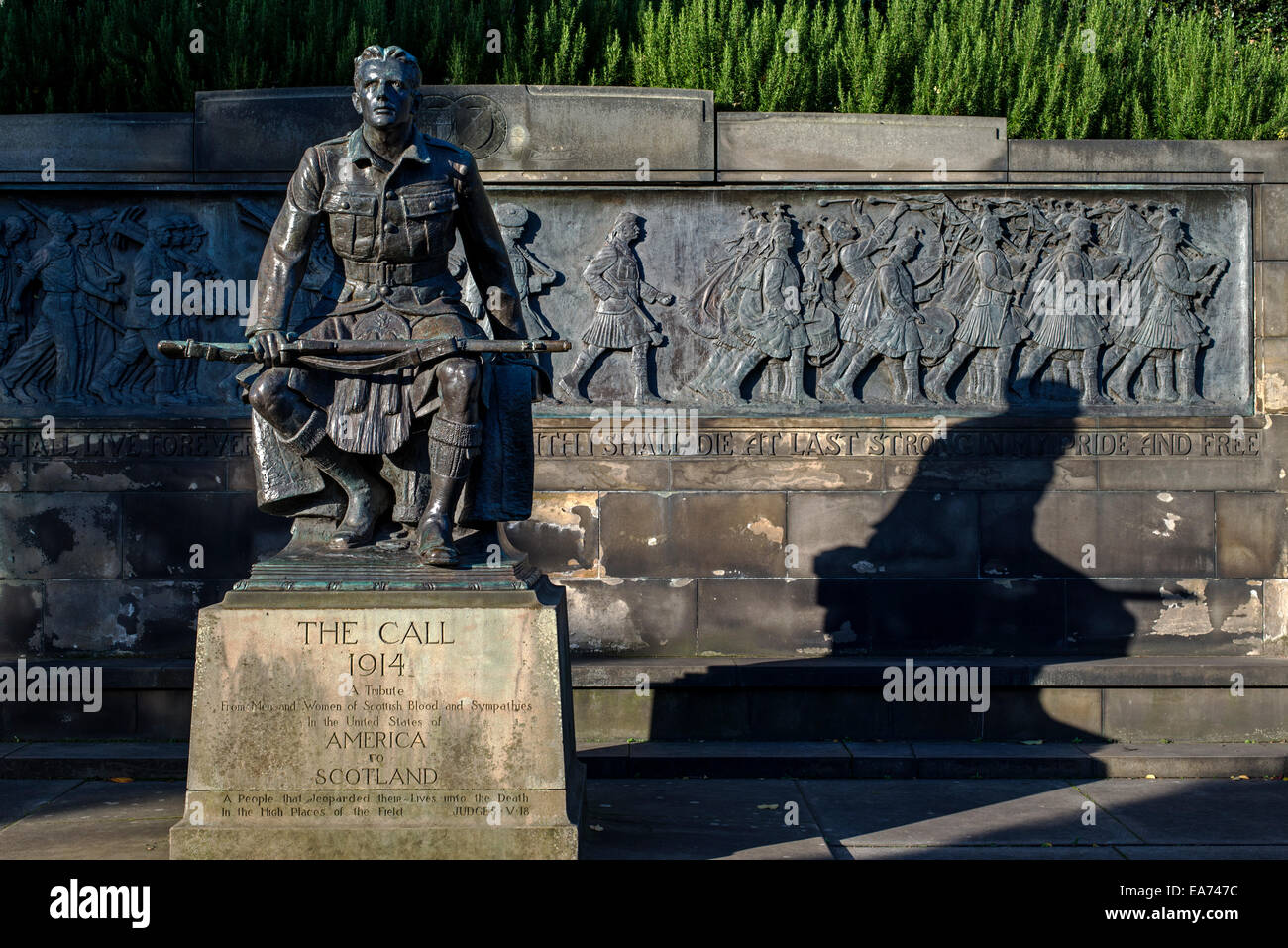First World War memorial in Princes Street Gardens, Edinburgh the people of the United States of America to Scotland. Stock Photo
