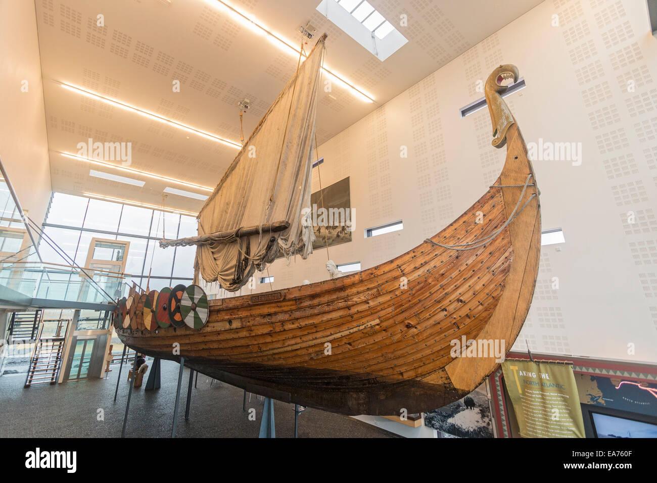 Viking World near Reykjavik, Iceland, has on permanent display the Íslendingur, the replica of the Gokstad - Stock Image