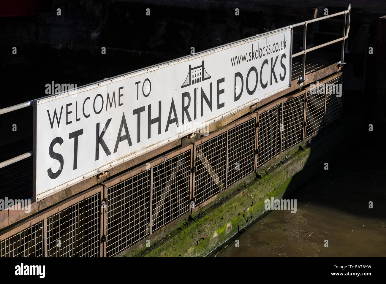 Welcome sign at St Katherine Docks, Pool of London