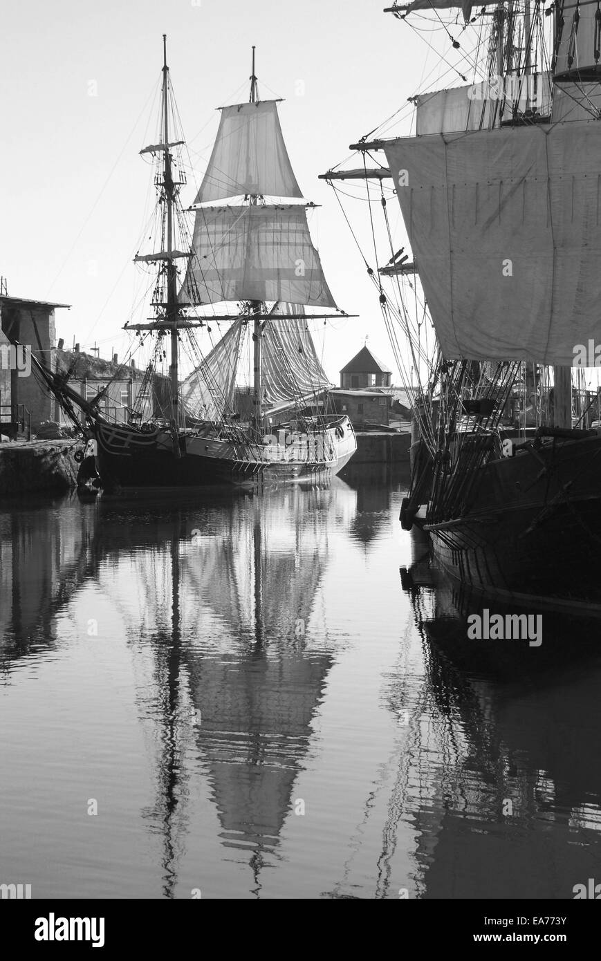 Tall ships in Charlestown Harbour - Stock Image