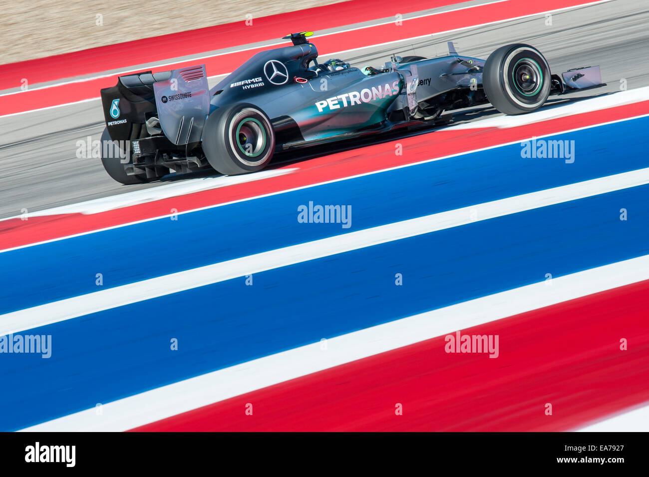 Nico Rosberg of Mercedes AMG Petronas seen at Circuit of the Americas during practice for the 2014 United States Stock Photo