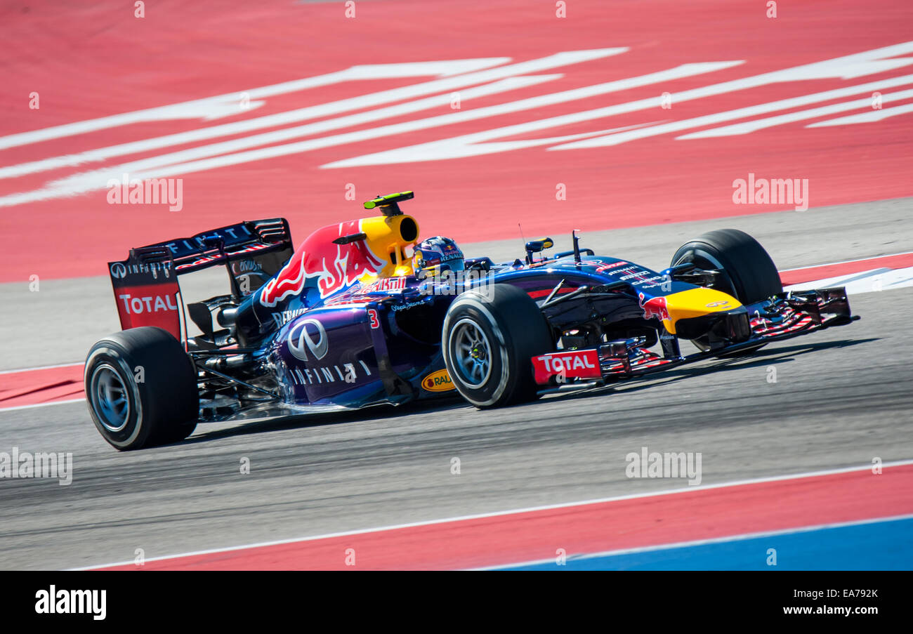 Daniel Ricciardo of Red Bull Racing seen at Circuit of the Americas in Austin, Texas during practice for the 2014 Stock Photo