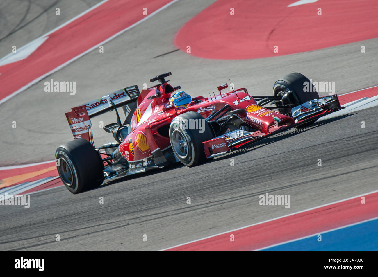 Fernando Alonso of Ferrari seen driving at Circuit of the Americas during practice for the 2014 United States Grand Stock Photo