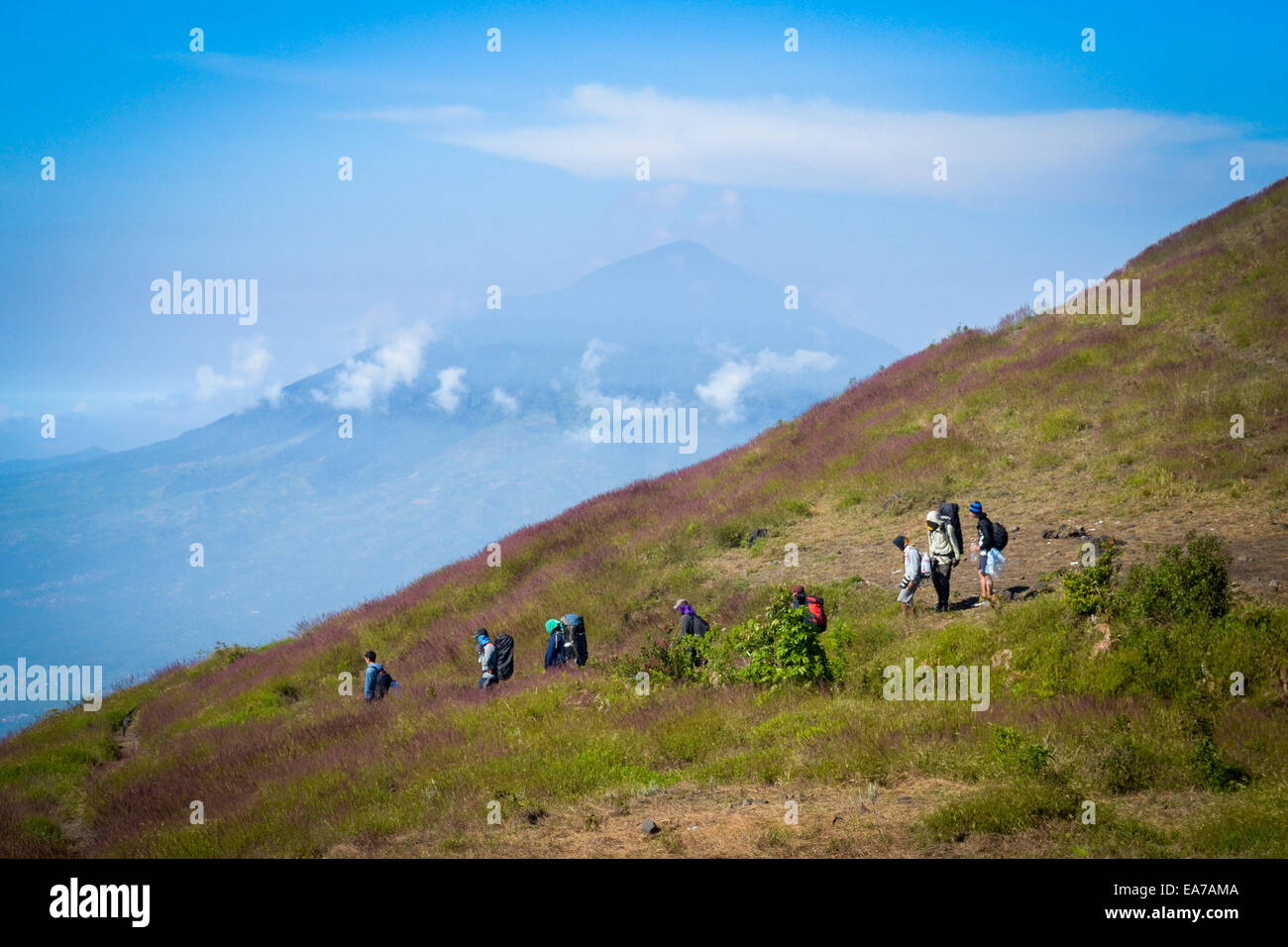 Local climbers on Mount Guntur, West Java. In the background is Mount Cikuray. Stock Photo