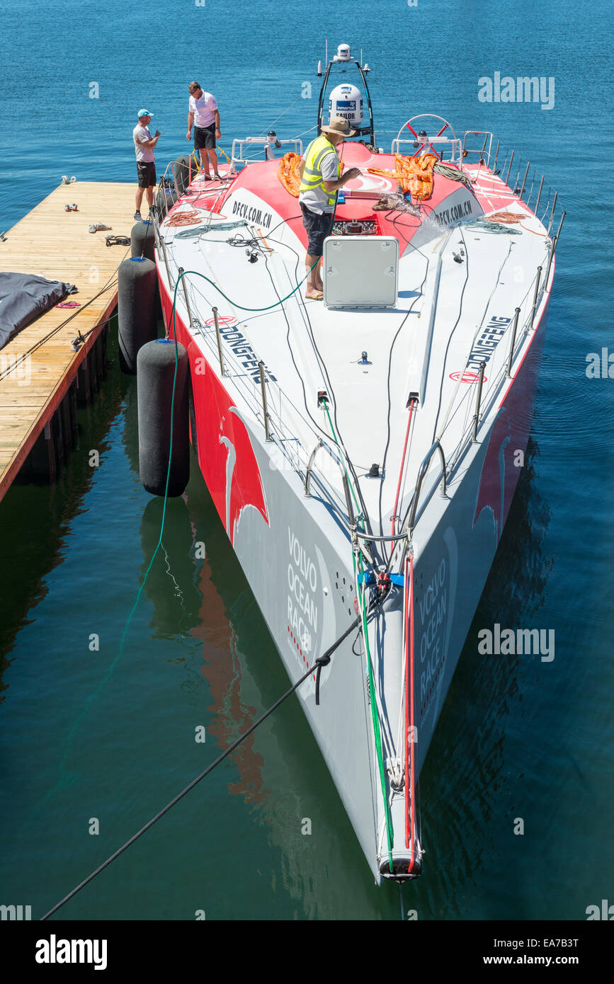 Dongfeng race team working on the boat in Cape Town, South Africa Stock Photo