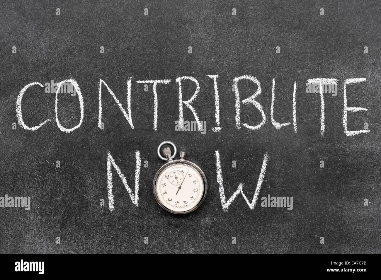 contribute now phrase with vintage precise stopwatch used instead of O - Stock Image