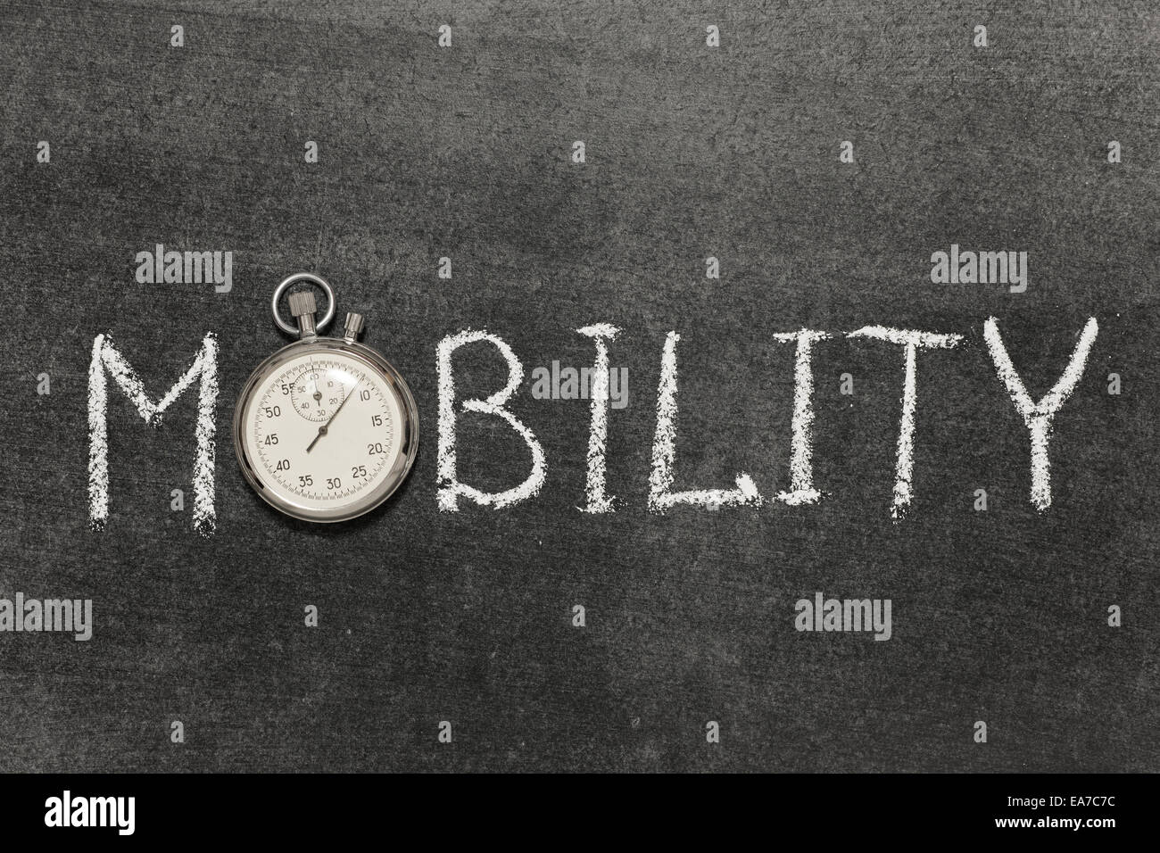 mobility word handwritten on chalkboard with vintage precise stopwatch used instead of O - Stock Image