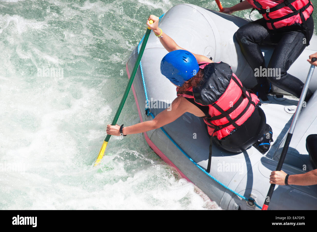 Rafting as extreme and fun sport - Stock Image