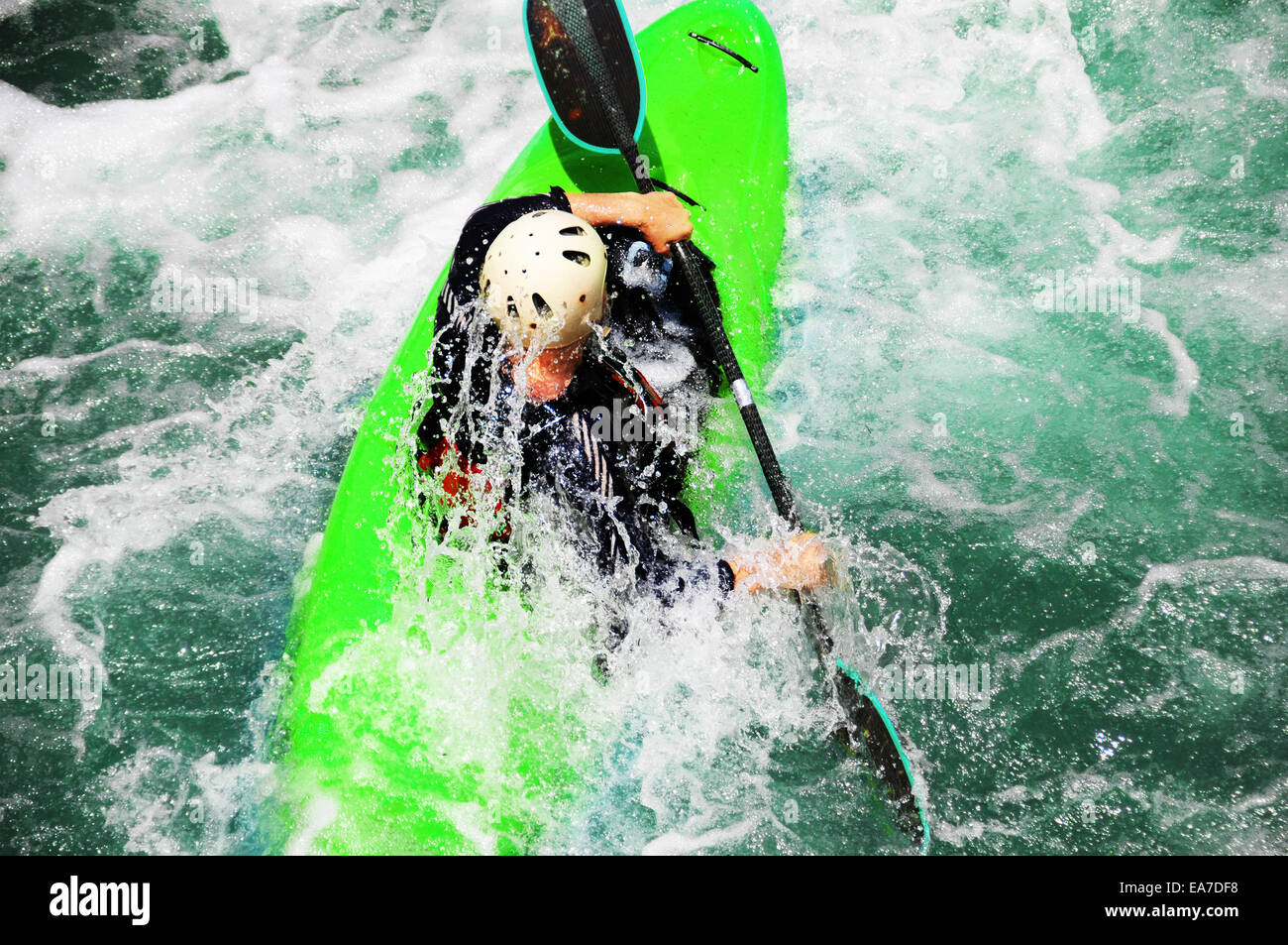 Kayaking as extreme and fun sport. - Stock Image