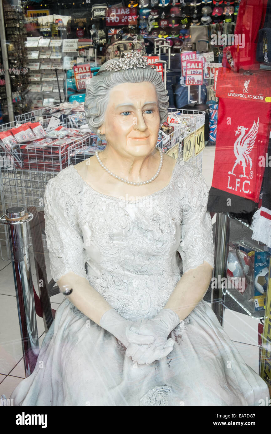 The fake Queen,Elizabeth II, sits in souvenir shop Live London:Shop ...