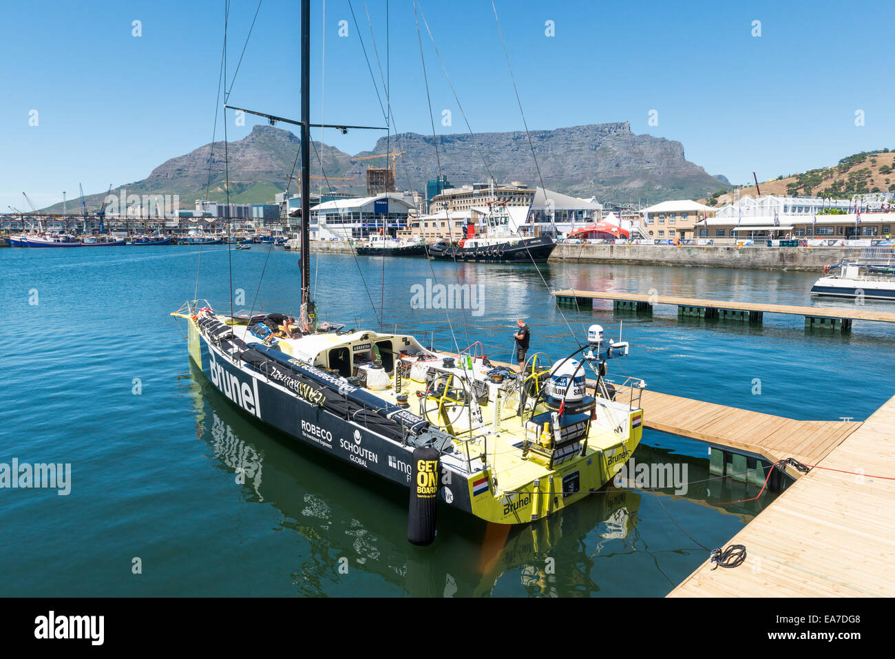 Bruel race team working on the boat in Cape Town, South Africa Stock Photo