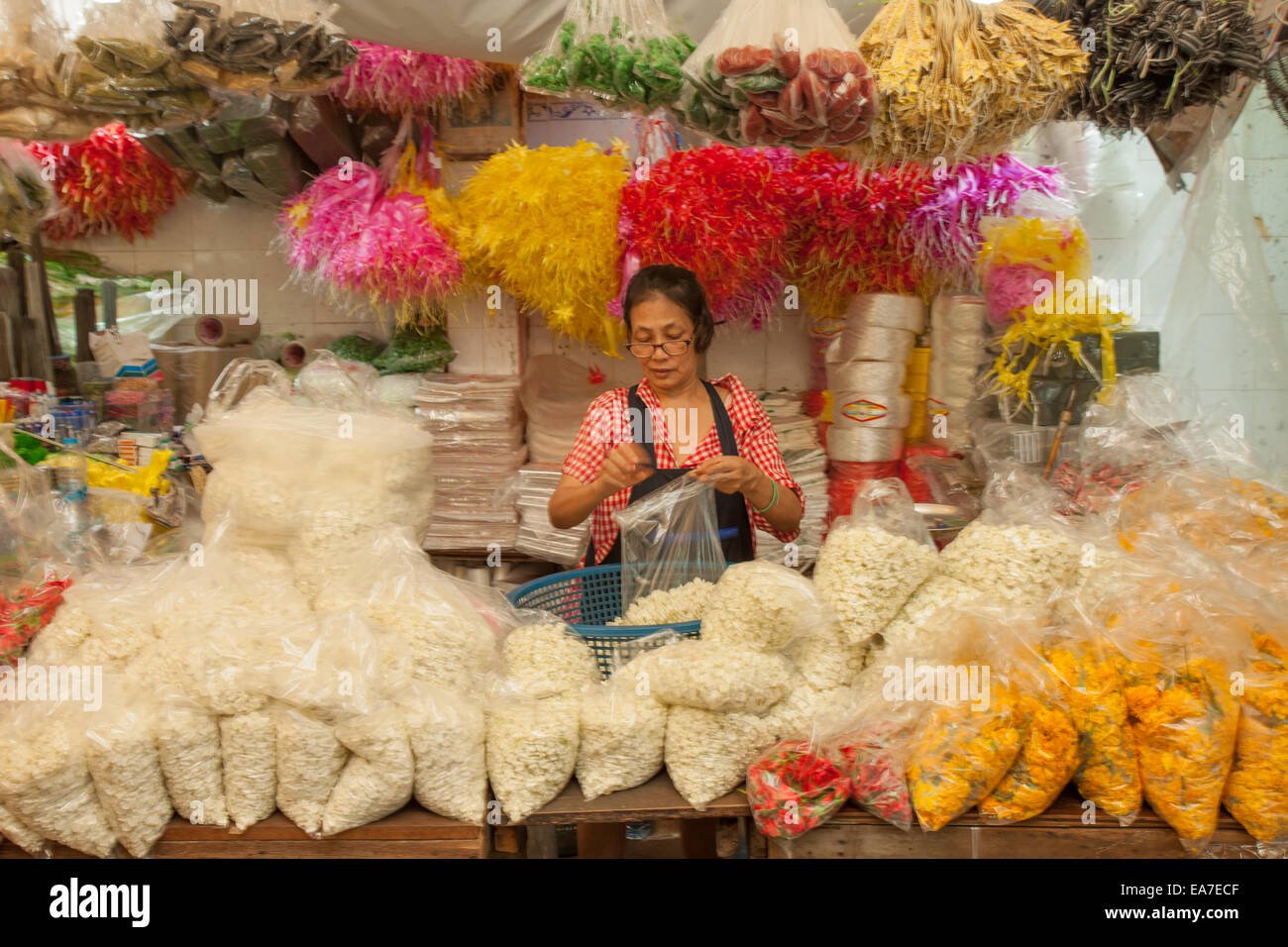 Flower Market in Bangkok, Thailand - Stock Image