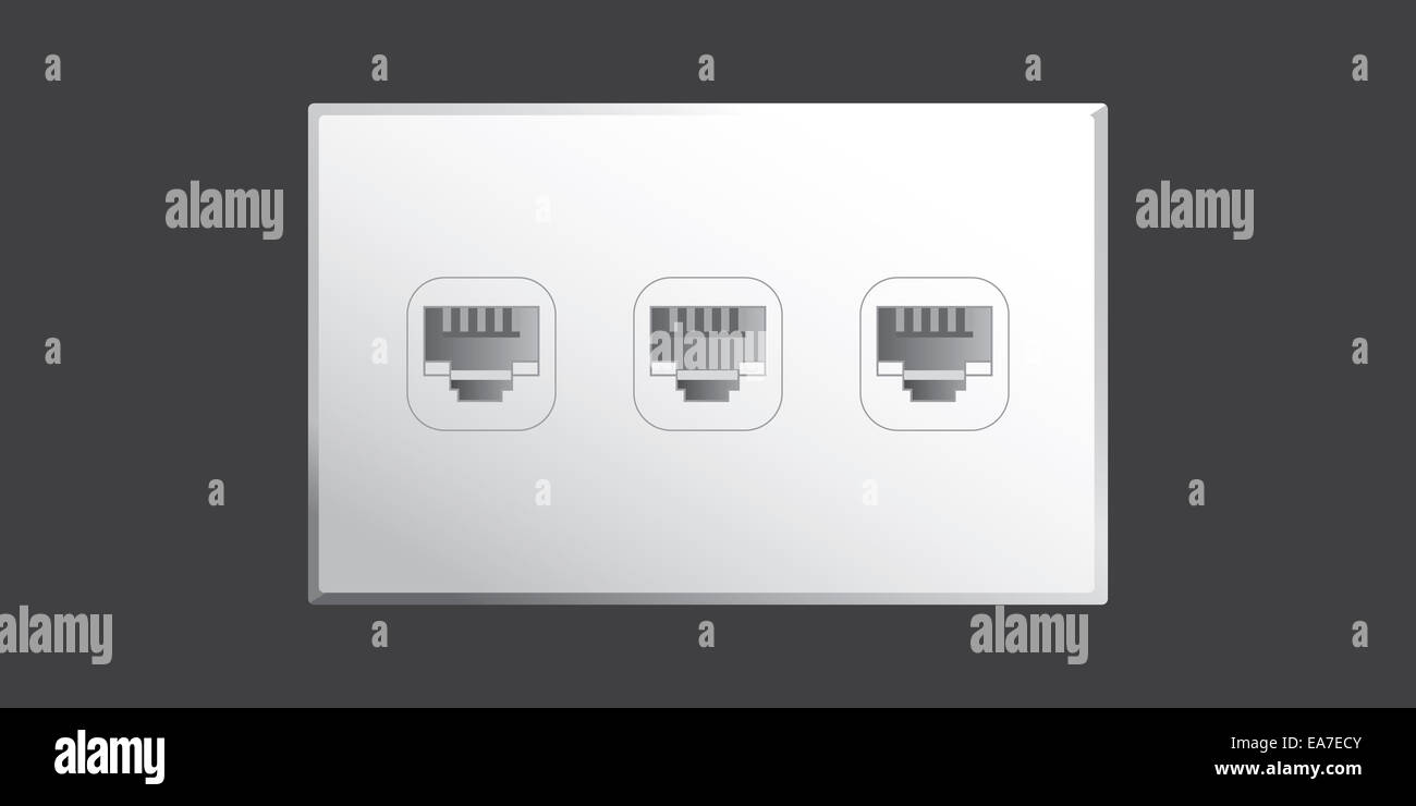 Ethernet port wall socket with 3 ethernet plug connections in vector ...
