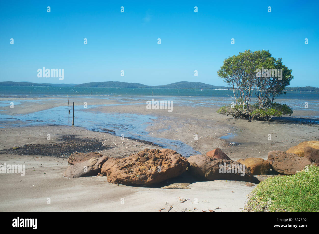 Port Stephens, New South Wales. Looking across the estuary with the tide out on a sunny spring day - Stock Image