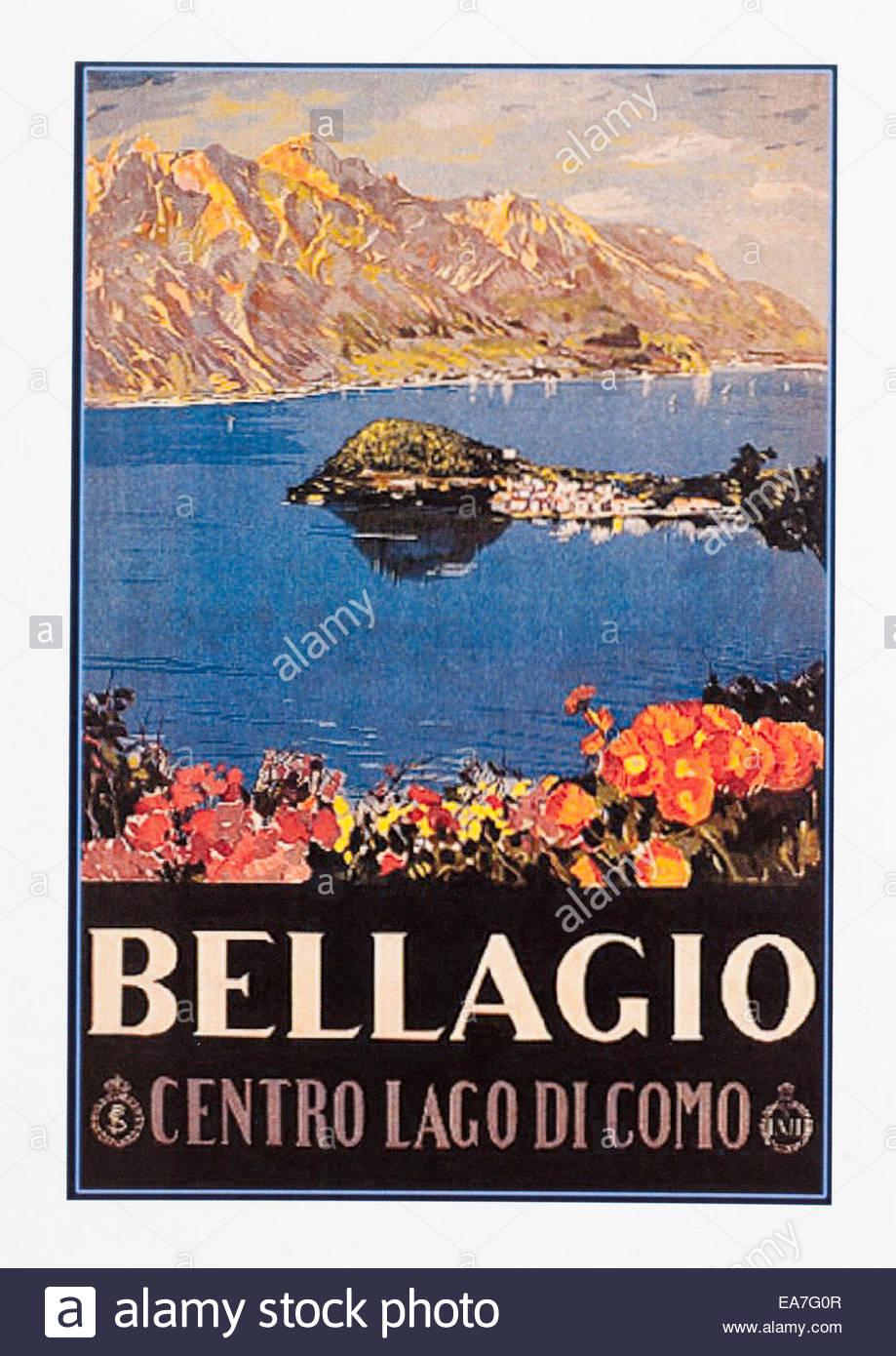 Vintage travel poster advertising Bellagio Centro Lago Di Como. Editorial Only - Stock Image