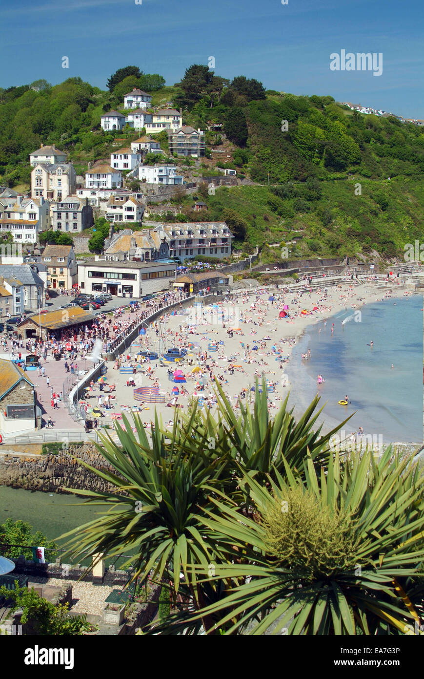 Elivated view of East Looe beach from West Looe Caradon South East Cornwall South West England UK - Stock Image