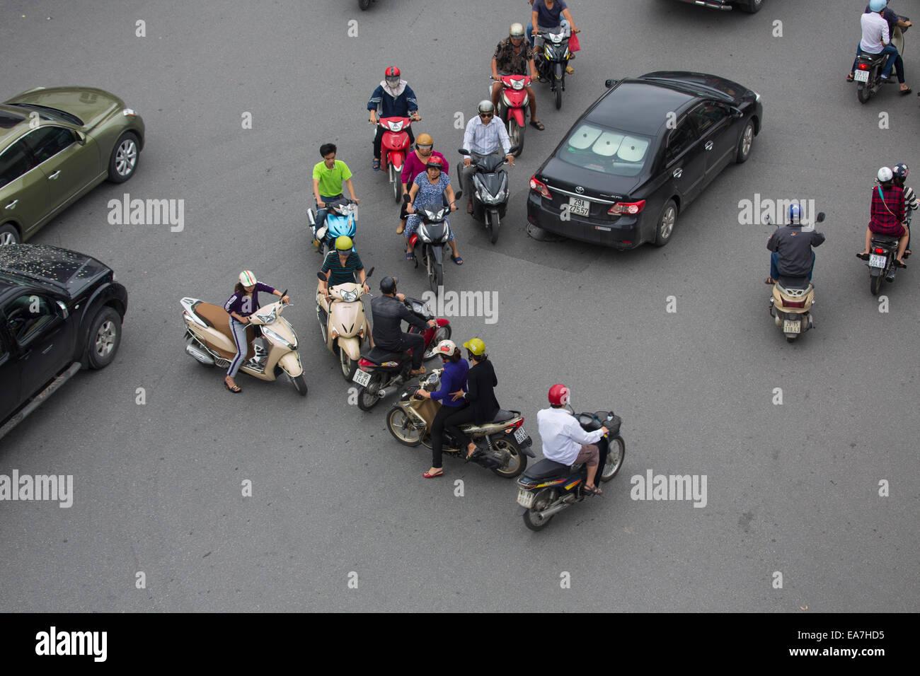 Traffic Chaos in Hanoi, Vietnam - Stock Image
